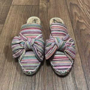 Sam Edelman Lynda Bow Espadrille Mules Stripes 9